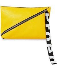 Proenza Schouler Zip Textured-leather Pouch - Yellow