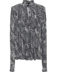 Proenza Schouler Gathered Printed Stretch-jersey Blouse - Black
