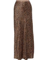 Nili Lotan Maya Leopard-print Silk-charmeuse Maxi Skirt Animal Print - Brown