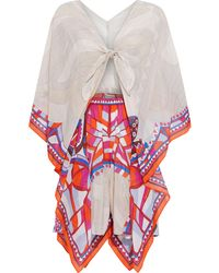 Emilio Pucci - Tie-front Draped Cotton And Silk-blend Voile Playsuit - Lyst