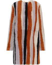 Yves Salomon Striped Shearling Coat Multicolor