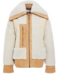 Victoria, Victoria Beckham Color-block Shearling Jacket - White