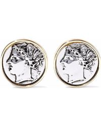 Kenneth Jay Lane - Embossed Silver And Gold-tone Clip Earrings - Lyst