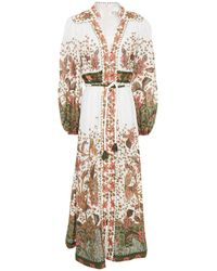 Zimmermann Gathered Floral-print Linen Maxi Dress - White