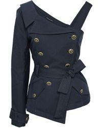 Marissa Webb Kendrick Asymmetric Double-breasted Belted Twill Jacket Navy - Blue