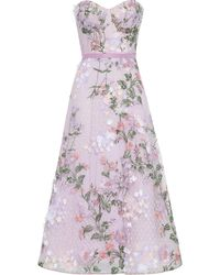 Marchesa notte Strapless Floral-appliquéd Embroidered Tulle Gown - Purple