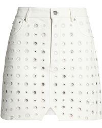 IRO - Broderie Anglaise Leather Mini Skirt - Lyst