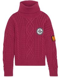 Mr & Mrs Italy Appliquéd Cable-knit Wool And Cashmere-blend Turtleneck Sweater - Multicolor
