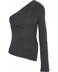 Theory Harmony One-shoulder Ribbed Wool-blend Jumper Dark Grey - Gray