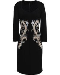 Roberto Cavalli - Woman Embellished Embroidered Crepe Dress Black - Lyst