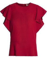 Vanessa Bruno Ruffled Crepe Top - Red