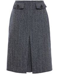 Victoria Beckham Plissierter rock aus tweed aus einer fischgrätwoll-baumwollmischung - Grau