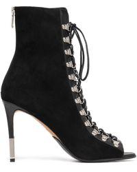 Balmain Lace-up Suede Ankle Boots - Black