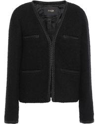 Maje Bead-embellished Grosgrain-trimmed Bouclé-tweed Jacket Black