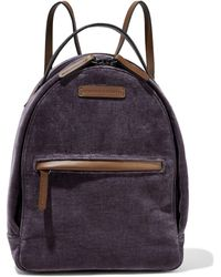 Brunello Cucinelli Bead-embellished Velvet And Leather Backpack Purple