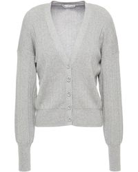 Cotton by Autumn Cashmere Ribbed Cotton Cardigan - Grey