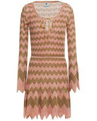 M Missoni Metallic Crochet-knit Mini Dress Baby Pink