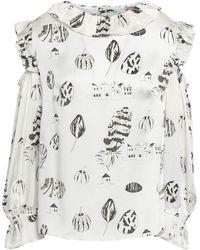 Shrimps Cold-shoulder Printed Silk Blouse - White