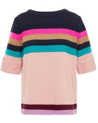 PS by Paul Smith Striped Wool And Cotton-blend Sweater Blush - Multicolour