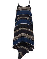 Halston - Woman Layered Striped Crepe Mini Dress Black - Lyst