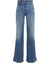 Veronica Beard Ember Faded High-rise Flared Jeans Mid Denim - Blue