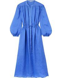 Three Graces London Julienne Gathered Ramie Midi Dress - Blue