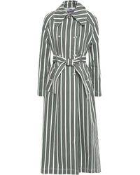 ALEXACHUNG Double-breasted Striped Denim Trench Coat White