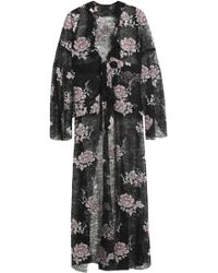 Anna Sui Woman Belted Embroidered Chantilly Lace Jacket Black