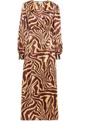Ganni - Wrap-effect Printed Stretch-silk Satin Midi Dress Light Brown - Lyst