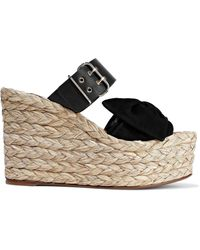 Valentino Bow-embellished Suede And Leather Espadrille Wedge Mules Black