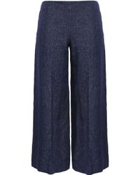 Theory - Terena B Cropped Linen Wide-leg Pants Navy - Lyst