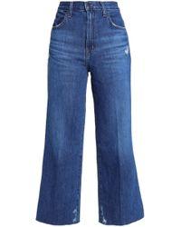 J Brand - Woman Joan Cropped Distressed High-rise Wide-leg Jeans Mid Denim - Lyst