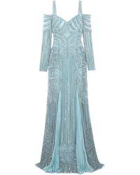 Zuhair Murad - Cold-shoulder Embellished Silk-bend Lace Gown Sky Blue - Lyst