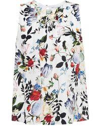 Erdem Warren Gathered Floral-print Silk Crepe De Chine Top - White
