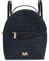 MICHAEL Michael Kors Jessa Color-block Textured-leather Backpack Navy - Blue