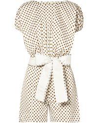 Silvia Tcherassi Belted Polka-dot Stretch-cotton Playsuit White