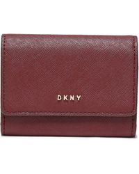 DKNY Textured-leather Cardholder Merlot - Multicolour