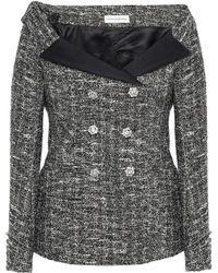 Faith Connexion Off-the-shoulder Metallic Bouclé-tweed Jacket Black