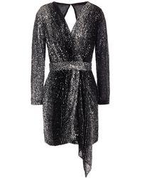 Maje Drapiertes minikleid aus stretch-mesh mit pailletten und wickeleffekt - Mettallic