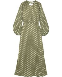 Racil Fez Open-back Polka-dot Satin Maxi Dress Sage Green