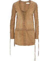de6a768814 Saint Laurent - Woman Lace-up Suede Tunic Camel - Lyst