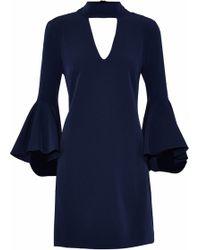 109e37bd08 MILLY - Woman Andrea Cutout Crepe Mini Dress Midnight Blue - Lyst