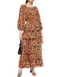 Mara Hoffman Maud Leopard-print -broadcloth Peplum Blouse Animal Print - Multicolour