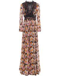 Giambattista Valli Gathered Lace-trimmed Floral-print Silk-georgette Gown Black