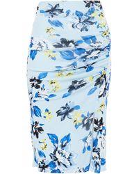 Diane von Furstenberg Willa Ruched Printed Stretch-mesh Skirt Light Blue