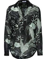 Equipment - Knox Lace-up Floral-print Cotton And Silk-blend Broadcloth Shirt - Lyst