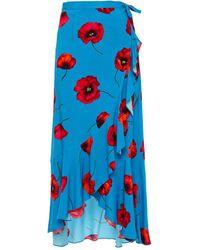 Cecilie Copenhagen Cecilie Copenhagen Vivi Asymmetric Floral-print Cady Maxi Wrap Skirt - Blue
