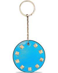 Valentino Rockstud Leather Keychain Blue