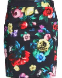 Love Moschino - Printed Stretch-cotton Mini Skirt - Lyst
