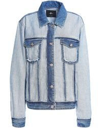 7 For All Mankind - Panelled Two-tone Denim Jacket Mid Denim - Lyst